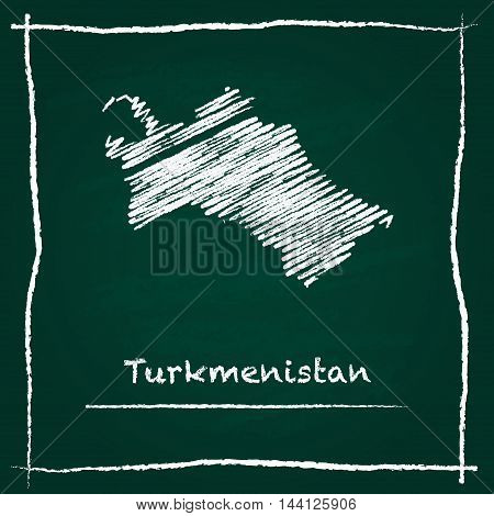 Turkmenistan Outline Vector Map Hand Drawn With Chalk On A Green Blackboard. Chalkboard Scribble In
