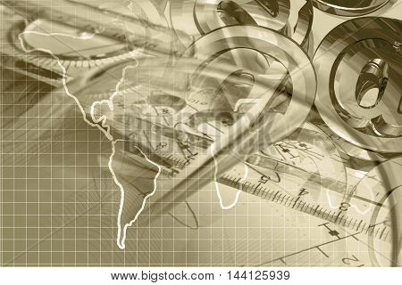 Financial background in sepia with graph ruler map and mail signs.
