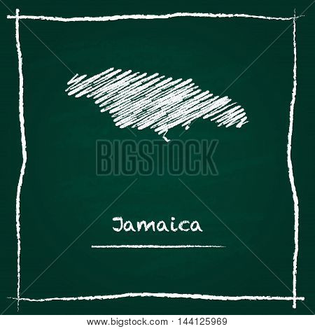 Jamaica Outline Vector Map Hand Drawn With Chalk On A Green Blackboard. Chalkboard Scribble In Child