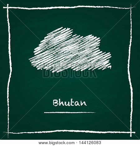 Bhutan Outline Vector Map Hand Drawn With Chalk On A Green Blackboard. Chalkboard Scribble In Childi