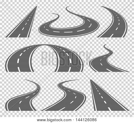 Winding curved road or highway with markings. Direction, transportation set. Vector illustration on transparrent background