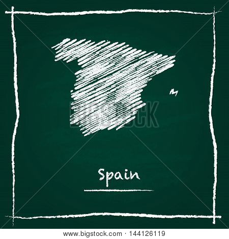 Spain Outline Vector Map Hand Drawn With Chalk On A Green Blackboard. Chalkboard Scribble In Childis