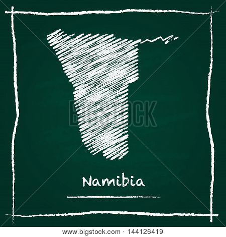 Namibia Outline Vector Map Hand Drawn With Chalk On A Green Blackboard. Chalkboard Scribble In Child