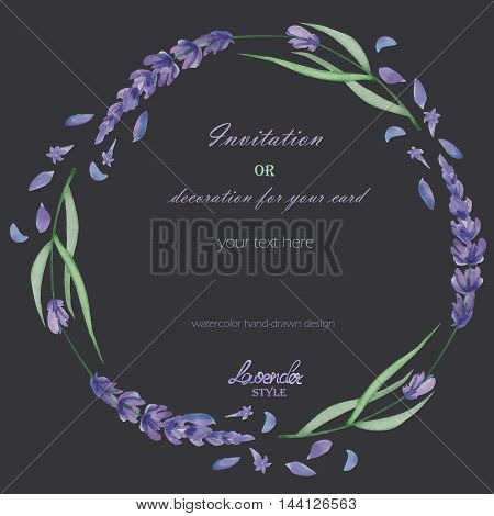 A frame, wreath, frame border for a text with the watercolor lavender flowers, hand-drawn on a dark background, a greeting card, a decoration postcard, wedding invitation