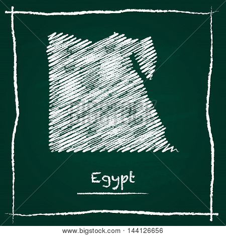 Egypt Outline Vector Map Hand Drawn With Chalk On A Green Blackboard. Chalkboard Scribble In Childis