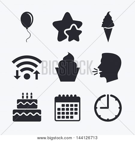 Birthday party icons. Cake with ice cream signs. Air balloon with rope symbol. Wifi internet, favorite stars, calendar and clock. Talking head. Vector