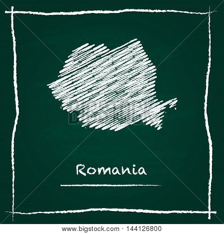 Romania Outline Vector Map Hand Drawn With Chalk On A Green Blackboard. Chalkboard Scribble In Child