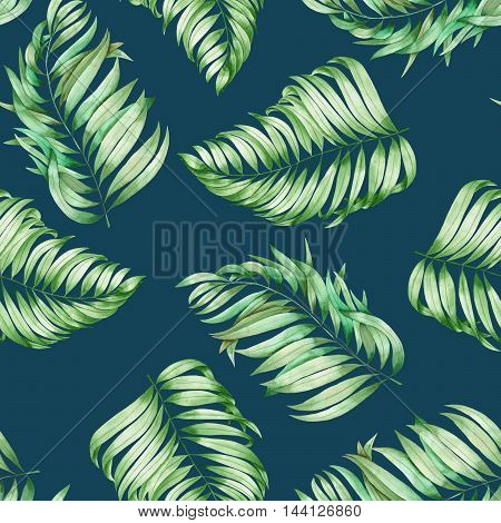 A seamless pattern with the branches of the leaves of a palm painted in watercolor on a dark blue (indigo) background