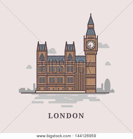 Flat modern vector London, the capital of Great Britain with Big Ben, bridge. Line art vector background