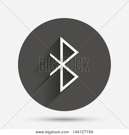 Bluetooth sign icon. Mobile network symbol. Data transfer. Circle flat button with shadow. Vector