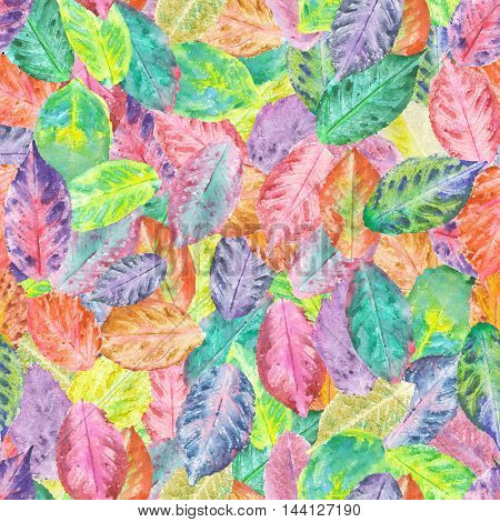 Seamless pattern with bright autumn leaves painted in watercolor