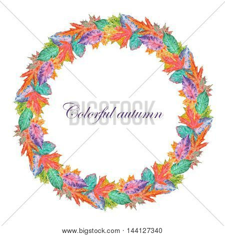 Wreath of bright autumn leaves stamped in watercolor on a white background, frame,  decoration postcard or invitation for wedding, celebration, holiday