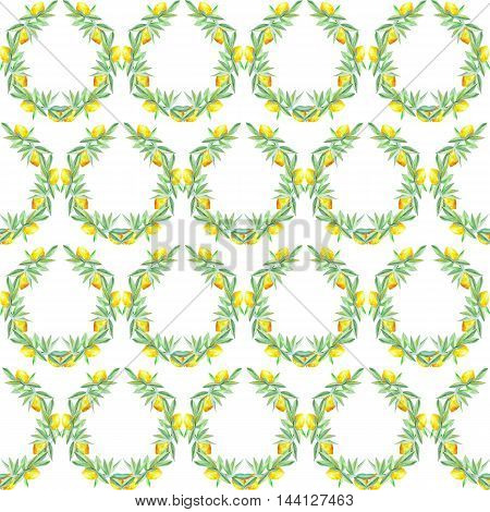 Seamless citrus pattern with wreaths of lemons on the branches with green leaves painted in watercolor on a white background