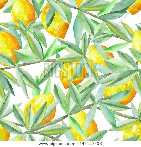 Seamless citrus pattern with lemons on the branches with green leaves painted in watercolor on a white background
