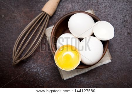 eggs and chicken egg yolk and whisk