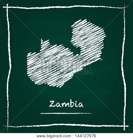 Zambia Outline Vector Map Hand Drawn With Chalk On A Green Blackboard. Chalkboard Scribble In Childi
