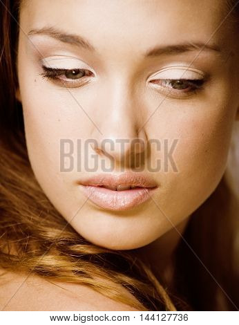 beauty young brunette sad woman close up, real spa