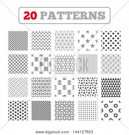 Ornament patterns, diagonal stripes and stars. Star favorite and menu list icons. Checklist and cogwheel gear sign symbols. Geometric textures. Vector