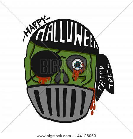Happy Halloween pirate zombie cartoon illustration on white background