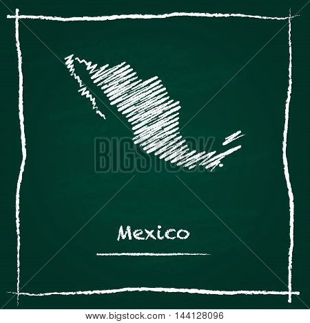 Mexico Outline Vector Map Hand Drawn With Chalk On A Green Blackboard. Chalkboard Scribble In Childi