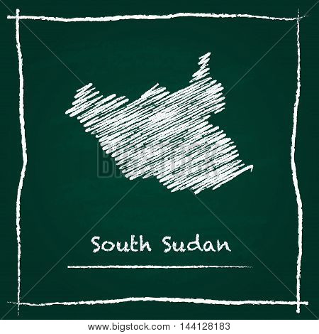 South Sudan Outline Vector Map Hand Drawn With Chalk On A Green Blackboard. Chalkboard Scribble In C