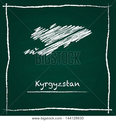 Kyrgyzstan Outline Vector Map Hand Drawn With Chalk On A Green Blackboard. Chalkboard Scribble In Ch