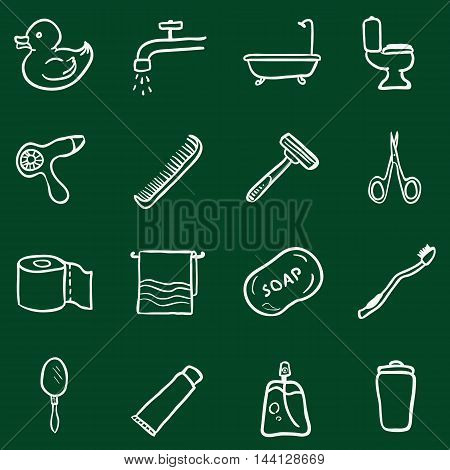 Vector Set Of Chalk Doodle Bathroom And Hygiene Icons.