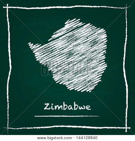 Zimbabwe Outline Vector Map Hand Drawn With Chalk On A Green Blackboard. Chalkboard Scribble In Chil