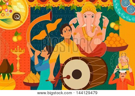 vector illustration of Happy Ganes Chaturthi festival celebration background