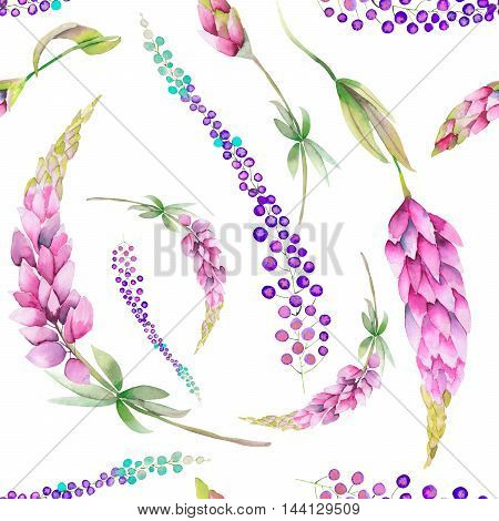 Seamless pattern with the watercolor red lupine flowers and abstract mimosa flowers, hand-drawn on a white background