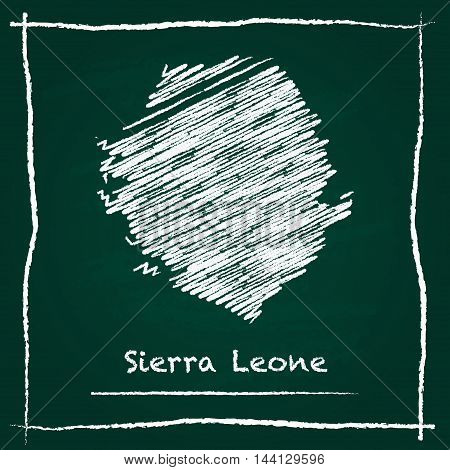 Sierra Leone Outline Vector Map Hand Drawn With Chalk On A Green Blackboard. Chalkboard Scribble In