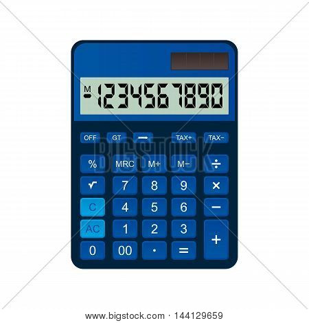 Calculator is made of blue plastic - Vector design EPS 10
