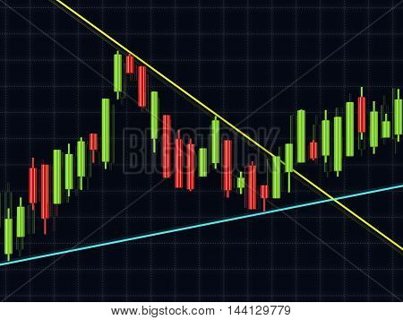 3D Rendering Of Forex Candlestick Chart Over Dark