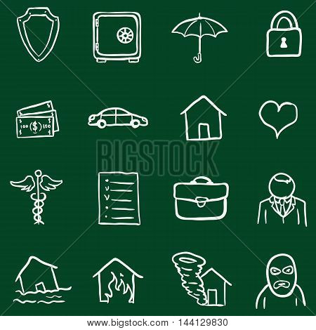 Vector Set Of Chalk Doodle Insurance Icons