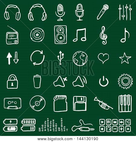 Vector Set Of Chalk Doodle Music Icons