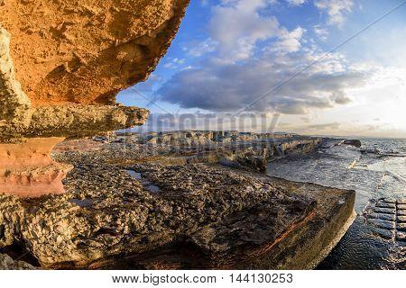 beautiful rocks on sunset time near to sea in Turkey