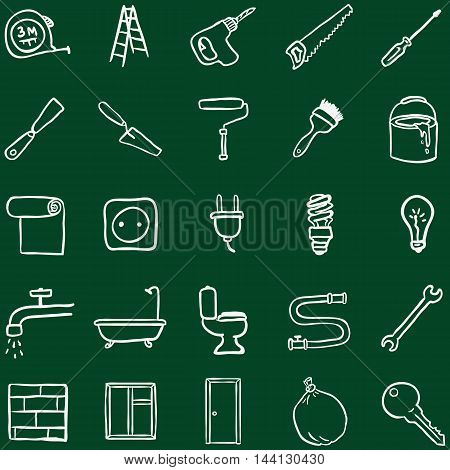 Vector Set of Chalk Doodle Home Repairing