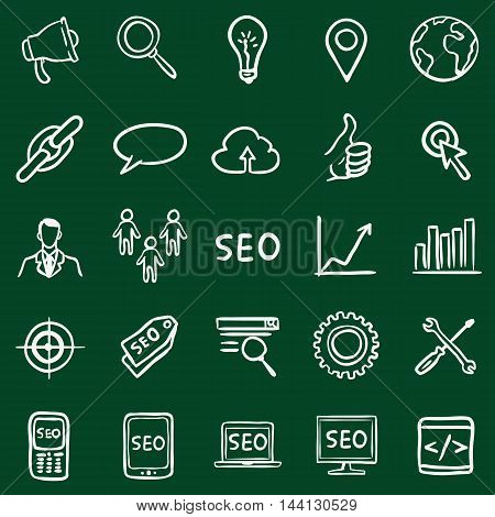 Vector Set of Chalk Doodle SEO Icons