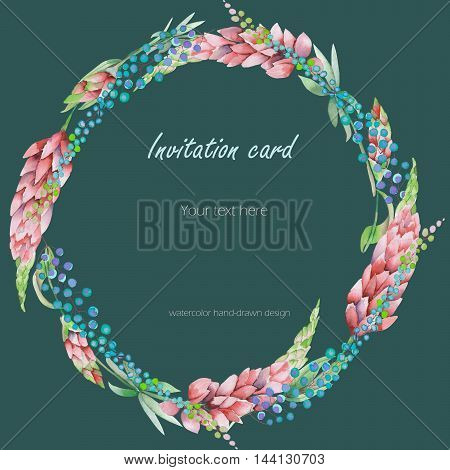 Circle frame, wreath with the floral design; elements of the pink lupine flowers and abstract mimosa flowers, hand-drawn in a watercolor;  decoration for a wedding, greeting card on a green background