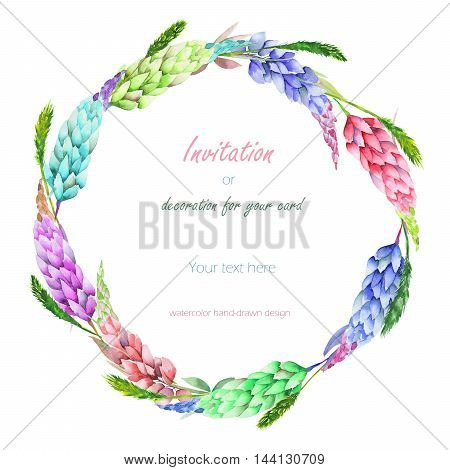 Circle frame, wreath with the floral design; elements of the variegated lupine flowers and spikelets, hand-drawn in a watercolor;  decoration for a wedding, greeting card on a white background