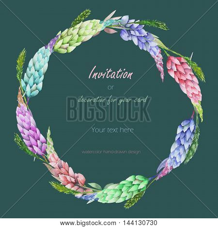 Circle frame, wreath with the floral design; elements of the variegated lupine flowers and spikelets, hand-drawn in a watercolor;  decoration for a wedding, greeting card on a green background