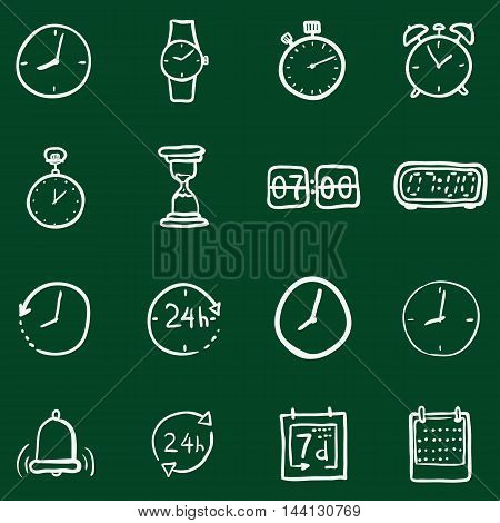 Vector Set of Chalk Doodle Time Icons