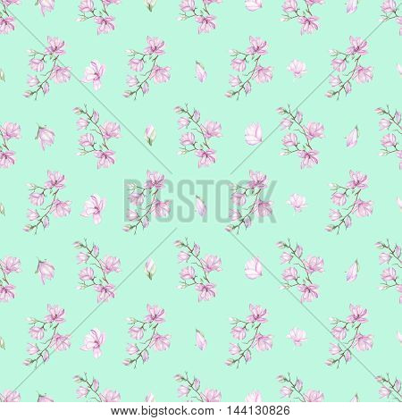 Seamless floral pattern with fine magnolias painted with watercolors on mint background