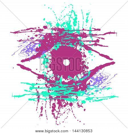 Vector hand drawn eye. Artistic creative colorful graphic illustration with inc splash blots and smudge isolated on the white background.