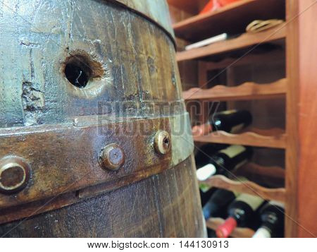Wine cask and standing Wooden Wine Case