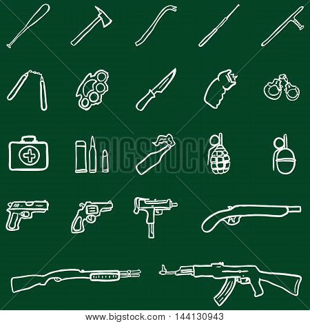Vector Set of Chalk Doodle Weapon Icons