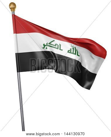 National flag for country of Iraq isolated on white background, 3D rendering