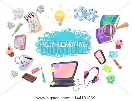 Self learning concept illustration. Laptop phone headphones coffee notebok magnifier books bulb gears etc. Isolated cartoon objects on white background.