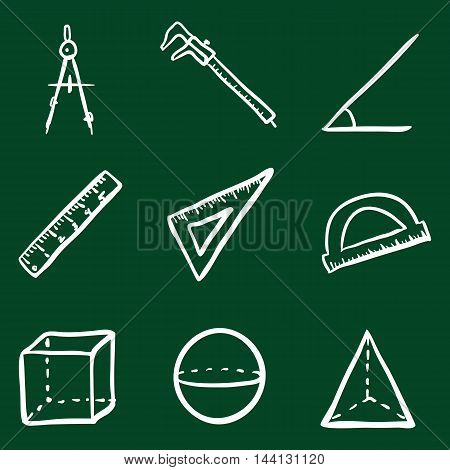 Vector Doodle Geometry Icons Set on Green Background