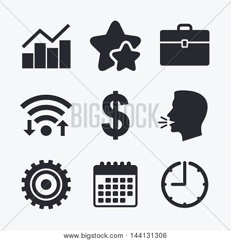 Business icons. Graph chart and case signs. Dollar currency and gear cogwheel symbols. Wifi internet, favorite stars, calendar and clock. Talking head. Vector